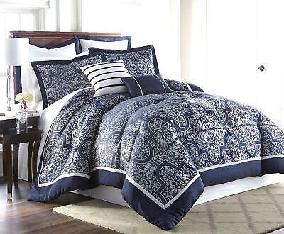 Jacquard 7 Piece Set - Luxury 7-Piece Navy Silver Jacquard Medallion Floral Comforter Set