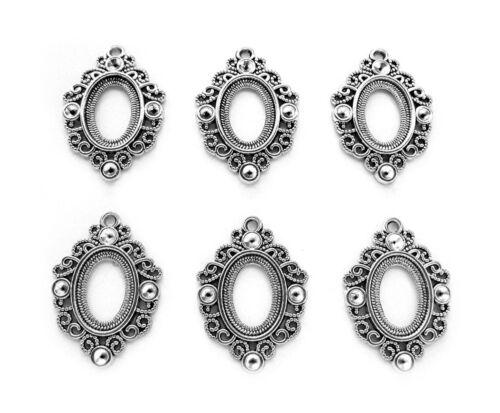 6 Antiqued Silvertone MARTINA 18mm x 13mm CAMEO PENDANT or Earrings Settings