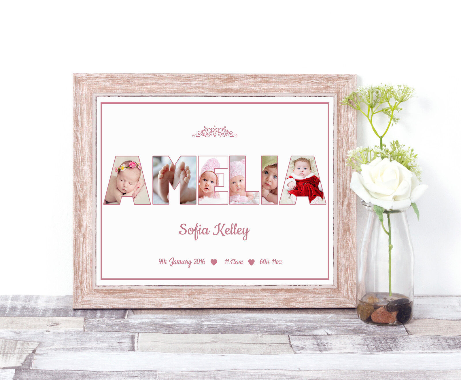 Personalised Girl NAME Photo Collage Word Art Print Christening Baby ...