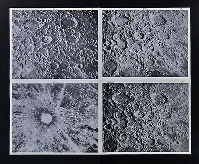 1960 Photographic Lunar Moon Map - 4 Photo Set - Field Tycho D7 Surface Crater