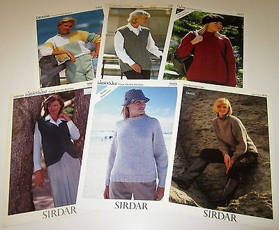 Lot of 6 Sirdar DK weight knitting yarn patterns for WOMEN