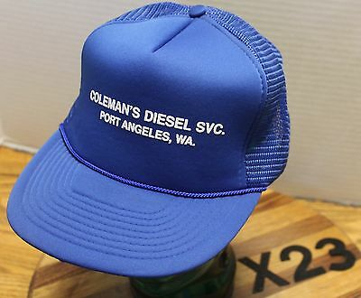 f9db393a6fe9d NWOT VINTAGE COLEMAN S DIESEL SERVICE PORT ANGELES WASHINGTON BLUE SNAPBACK  X23