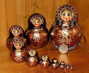 Russian-HAND-PAINTED-nesting-doll-10-BLACK-GOLD-Babushka-Signed-Matryoshka
