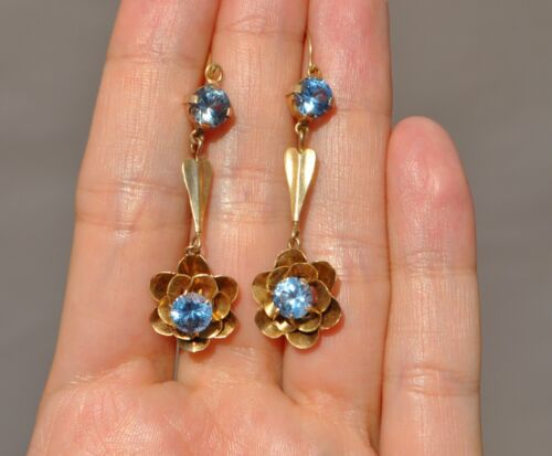 ANTIQUE VICTORIAN 14K SOLID GOLD CRYSTAL DANGLE EARRINGS FLOWER BUTTERCUP - LONG