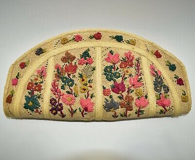 Vtg Handmade Woven Straw Tote Clutch Bag Embroidered Floral Madein Jamaica -
