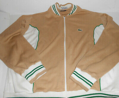 VTg Izod Lacoste Retro Tennis Track Jacket  Full Zip Stripes Hippster Mens Sz XL