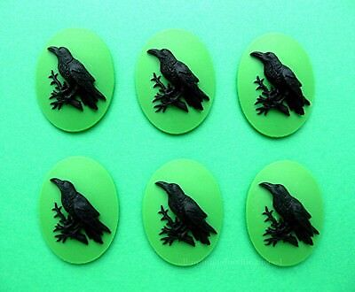 6 BLACK BIRD GOTH CROW RAVEN on GREEN Color 25mm x 18mm Costume Jewelry CAMEOS
