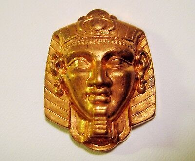 Egyptian Revival Pharaoh Head Vintage Raw Brass Stamping, Embellishment, Finding