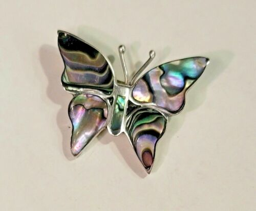 Taxco Artisan Signed Sterling Silver Vtg Hand Crafted Abalone Butterfly Pin(510)