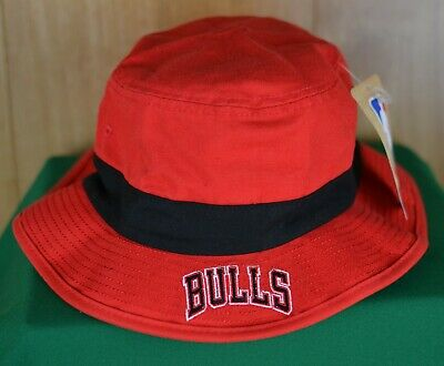 adidas Chicago Bulls NBA Red Bucket Hat with Black Band Cotton Men's Size L/XL