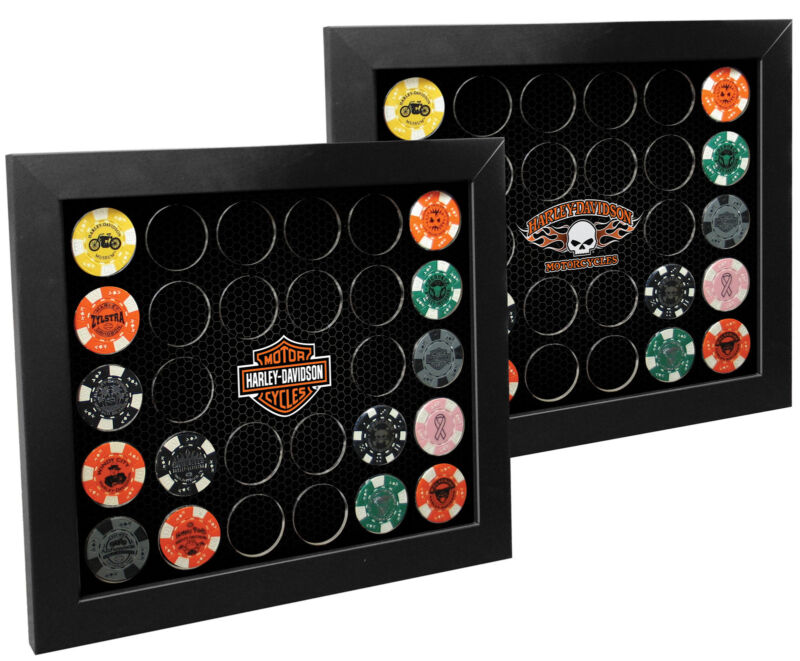 Harley-Davidson® Double Sided Poker Collector Chip Display Frame -Holds 28 6925D