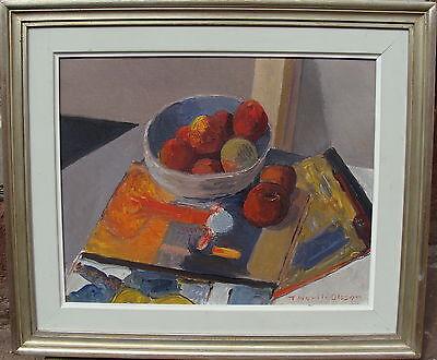 Thorlid Olsson 1902-1973, Stillleben mit Bildern und Fruchtschale, um 1950