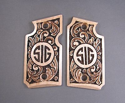 Sig Sauer P938 Gun Grips W  Hand Carved Scroll Design   Sig Name