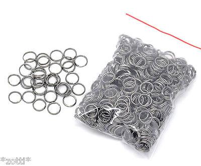 10 Stück Schlüsselringe 8 mm Spaltring Spiralringe Farbe schwarz / gunmetal *