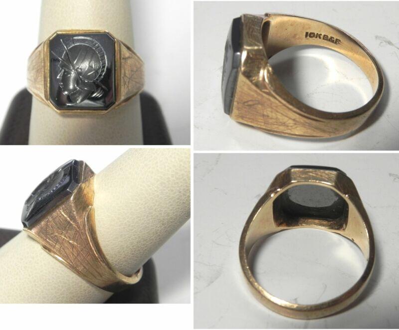 J923 Vtg 10K Solid YG 11mm x 13mm Hematite Roman Solider Ring Sz 10.5, 9.6g