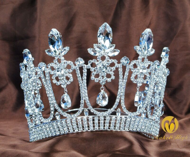 "Handmade 5.3"" Wedding Brides Tiara Beauty Pageant Crystal Crown Party Costumes"