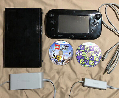 Nintendo Wii U Black Console Complete W/ Splatoon,Lego,Sports Club,Kid Friendly!