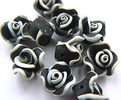 Beads - Polymer Fimo Clay Flower 10mm Black with White decoration x 10 beads