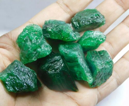 55.00Ct + Translucent Natural Colombian Emerald Green Loose Mineral Rough lot 6
