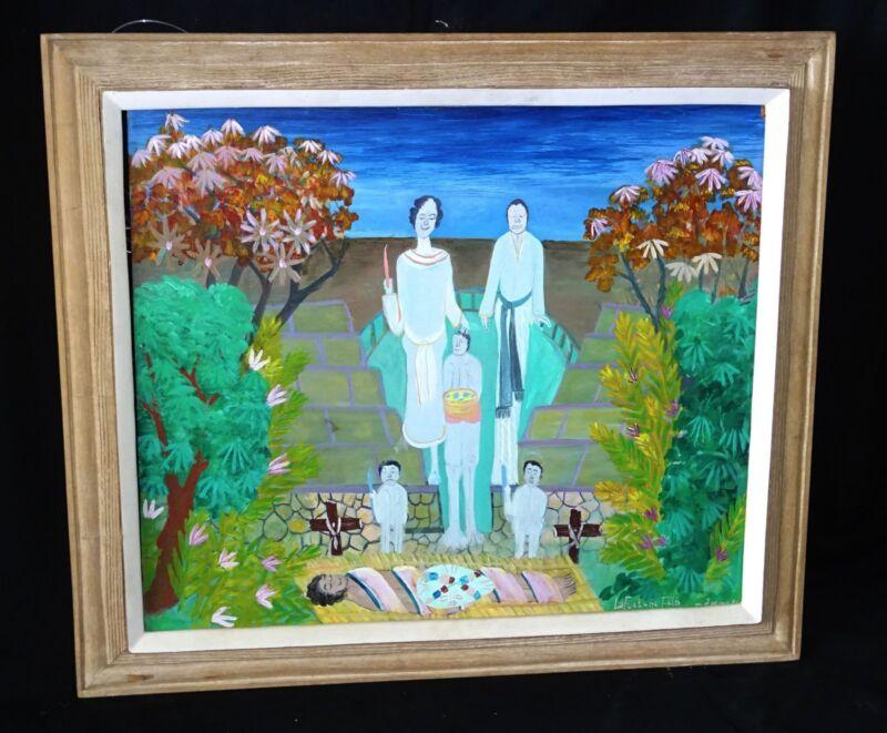 "1981 Haitian Acrylic Painting ""new Path Che /min Neuf"" By Lafortune Felix (stea)"