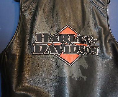 Harley Davidson Black Leather Vest Embroidered Mens XL w Tag