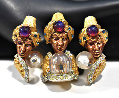VTG 40s HAR JEWELED FORTUNE TELLER GENIE CRYSTAL BALL SLIDE EARRINGS SET ~ D099