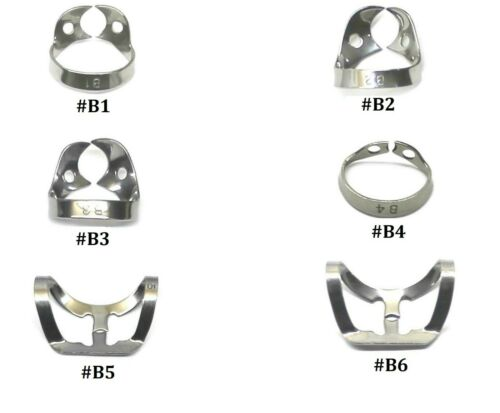 6PCs Set Dental Rubber Dam Clamps B1, B2, B3, B4, B5, B6 Brinker Clamp Retractor
