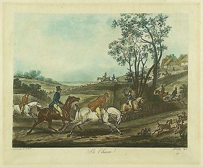 JAGD - PARFORCEJAGD - Jazet nach Vernet - La Chasse - Farbaquatinta 1830