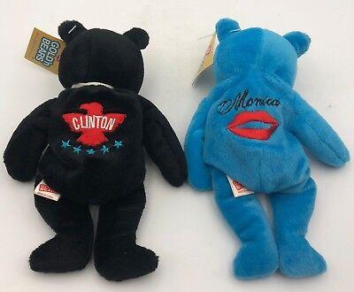 (2) Plush Toy Bears Bill Clinton Monica Lewinsky 23 Karat Gold'n Bears
