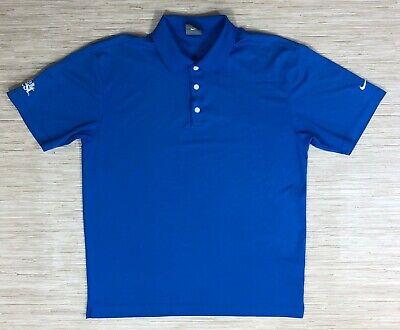 Nike Golf Dri Fit Blue Shirt Men's Size Medium Short Sleeve Do It Best
