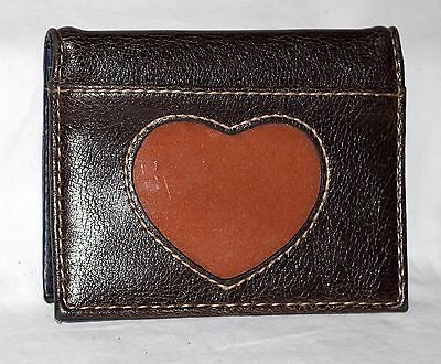 Brown Faux Leather ID & Card Holder w/ Heart Shaped Cellophane ID Slot on Front