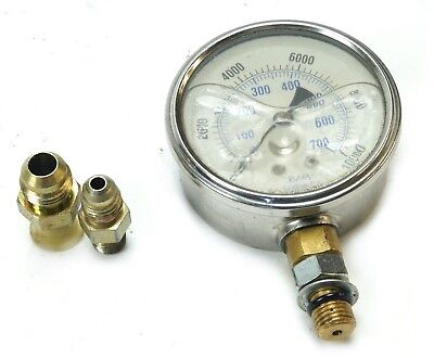 2-12 Liquid Filled High Pressure Gauge 10000 Psi Lower Mount With Adapters