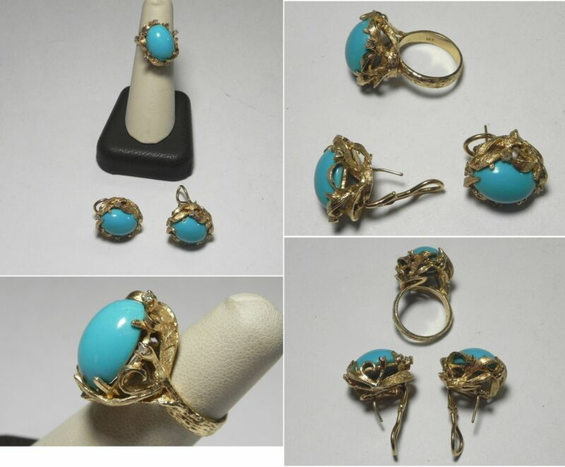 C1149 Vintage 14K Solid Yellow Gold Diamond and Teal Cabochon Ring & Earring Set