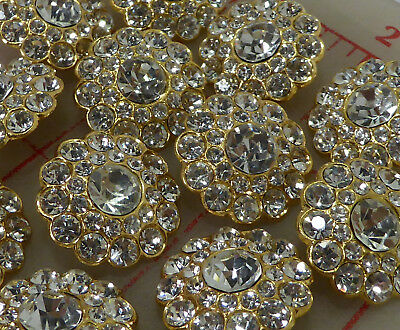12 Czech thin gold metal buttons covered in larger & small rhinestones 20mm #115