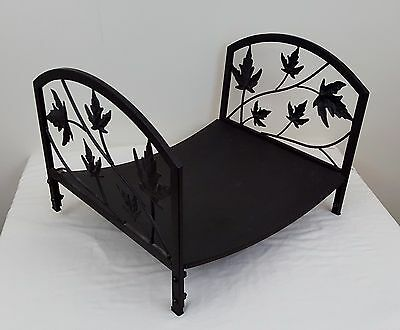 "Decorative Flames Wood Rack Metal 18"" Leaf Design Brown Fireplace Log Holder"