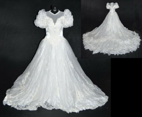 Unbranded Vintage 80s White Organza Ruffle Beaded Wedding Dress w/ Train 14