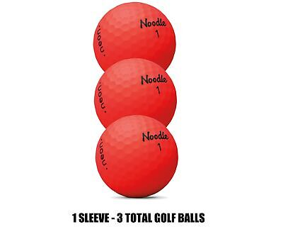 TAYLORMADE NOODLE NEON GOLF BALLS MATTE FINISH RED - 1 SLEEVE (3 BALLS) (Neon Noodle)