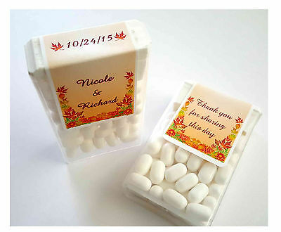 28 AUTUMN LEAVES FALL WEDDING FAVORS TIC TAC LABELS ~personalized