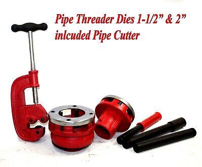 1-12 2 Npt Pipe Dies Threader Ratchet Type Handle W Pipe Cutter 2