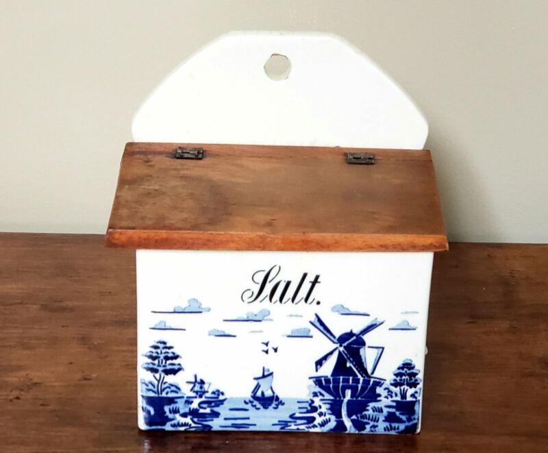 Vintage Cobalt Blue and White Ceramic Salt Box, Windmill & Sailboat Scene, Germa