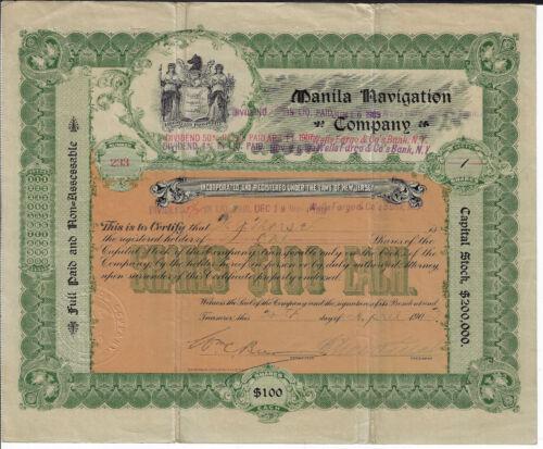 PHILIPPINES 1903 Manila Navigation Company Stock Certificate