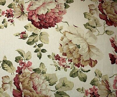 Magnolia Home Large English Rose Floral Pink Cream Upholstery Fabric By The - Drapery Fabric By The Yard