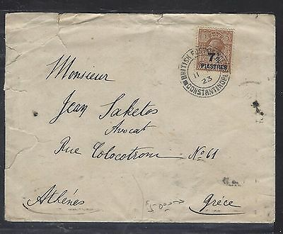 BRITISH LEVANT, TURKEY  (P1708B)  GB KGV 1923  7 1/2PI/5D COVER TO GREECE