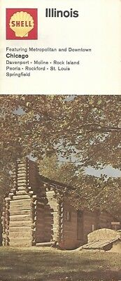 1968 Shell Oil Log Cabin Road Map Illinois Route 66 Springfield Rockford Chicago