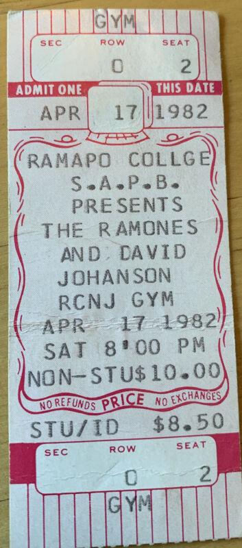 Unused 1982 Ramones Ramapo College NJ Box Office Concert Ticket NY Dolls stub