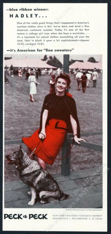 1943 Norwegian Elkhound photo Peck & Peck Hadley sweater vintage print ad