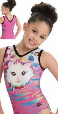 GK ELITE Leotard PRETTY KITTY Gymnastics TANK Competition PINK Leo MEOW Cat CL - Cat Leotard