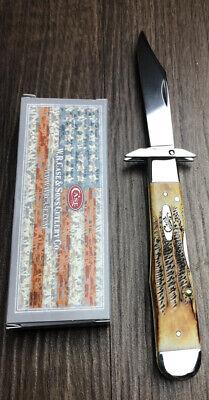 Case XX Cutlery Cheetah Pocket Knife Surgical Steel Clip Blade Bonestag Handle