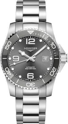 New Longines Hydroconquest Gray Dial Steel Bracelet Men's Watch L37814766