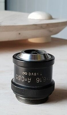 Soviet Vintage Objective Lens F 6.16 A 0.65 For Microscope Lomo Zeiss Rms